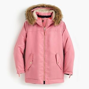 J Crew Pink Parka With Quilted Lining